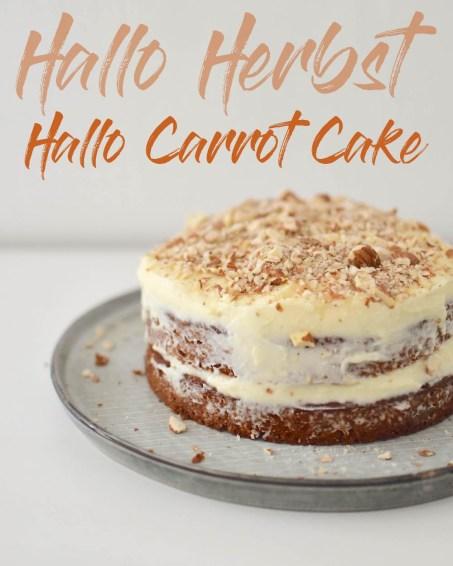 Carrot Cake mit Cream Cheese Frosting - mit Mandeln, ohne Nüsse.