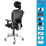 MAJESTIC® Triple Star Pride Hanger Mid Back Engineered Revolving Office & Study Chair with Adjustable Armrest (Black)