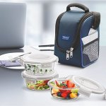 Treo by Milton Health First Round Glass Tiffin Box with Cover, 380ml, Set of 3, Transparent Glass