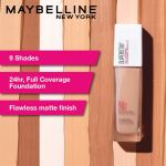 Maybelline New York Super Stay 24H Full Coverage Liquid Foundation, Natural Beige 220, 30ml