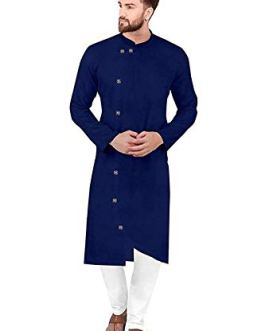Men's Side Botton Fancy Cotton Kurta Pajama