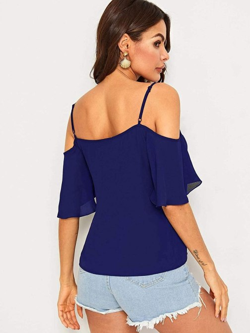 Women's Boho Style Butterfly Sleeve Cold Shoulder Top