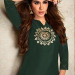 Pure Viscos Silk Kurti With Plazo: Green  Suit