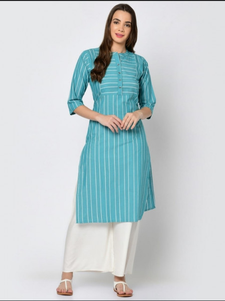 Blue Cotton Kurti Plazo