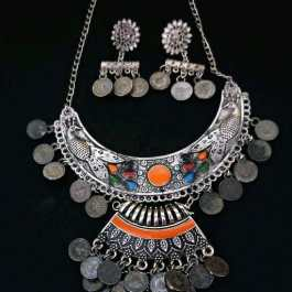 Colourful German Silver Plated Necklace