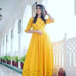 Yellow Rayon Ethnic Gown For Party
