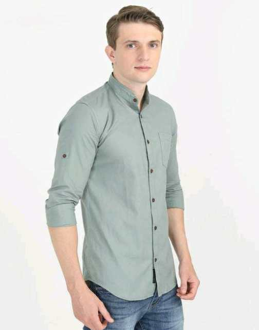Full Sleeve Cotton Chinese Collared Shirt