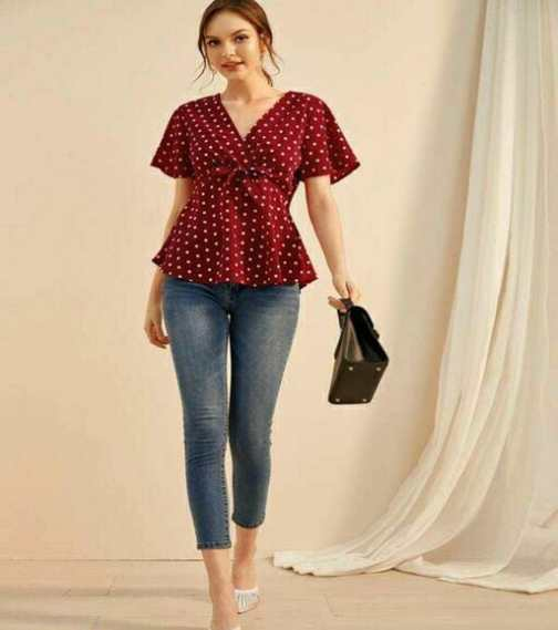 Polka Dotted Red Top