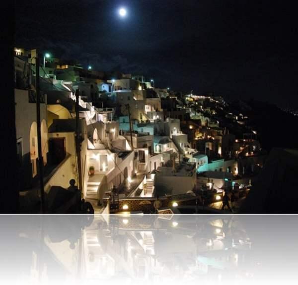 Fira Thira Santorin Greece Griechenland by night