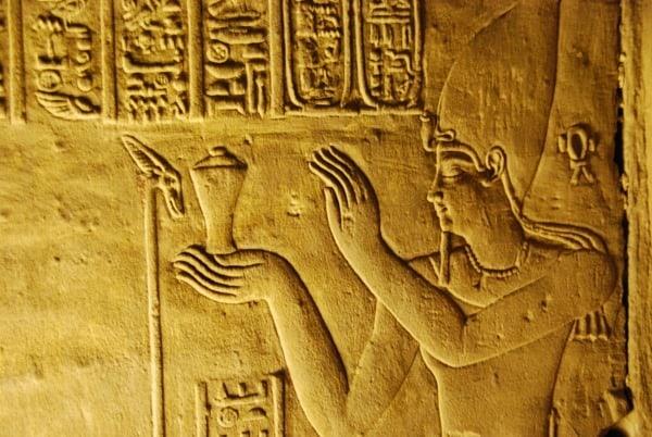 Horus Tempel von Edfu Relief des Pharao Ägypten