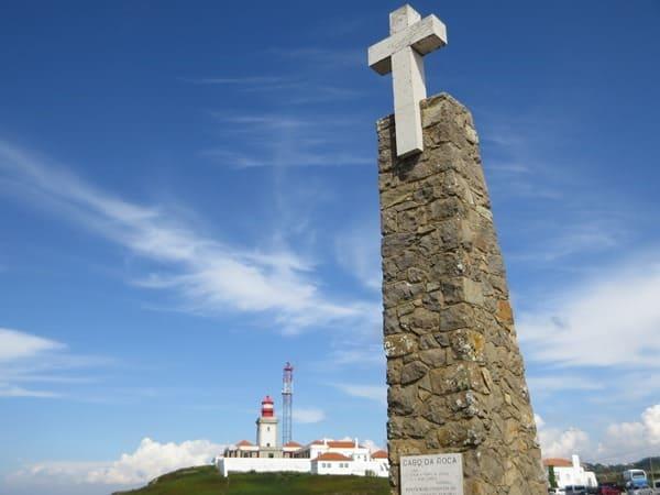 Cabo da Roca westlichster Punkt Europas Leuchtturm Kreuz Portugal