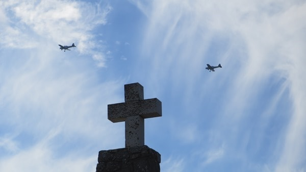 Cabo da Roca westlichster Punkt Europas Kreuz Flugzeuge Luftwaffe Portugal
