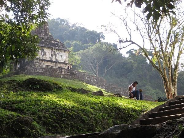 Palenque Mexiko Sehenswürdigkeiten Pause Sonnentempel Maya Stätte