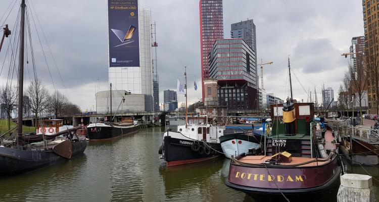 00 a rosa Flusskreuzfahrt Rhein Skyline Rotterdam Holland Niederlande