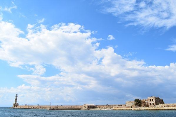 Leuchtturm Hafenmauer Alter Venezianischer Hafen Chania Kreta Griechenland