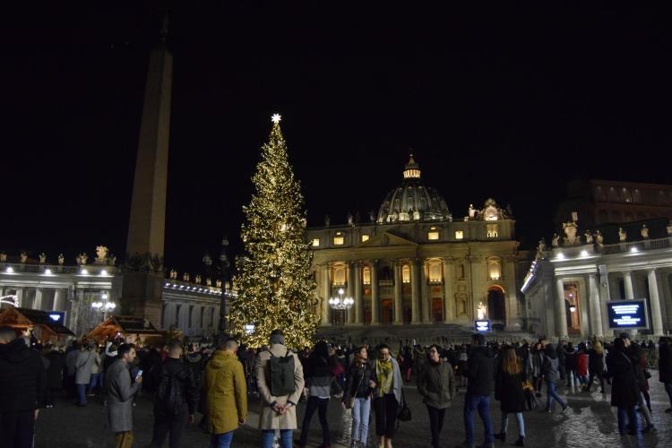 vatikan petersplatz weihnachten nachts rom italien