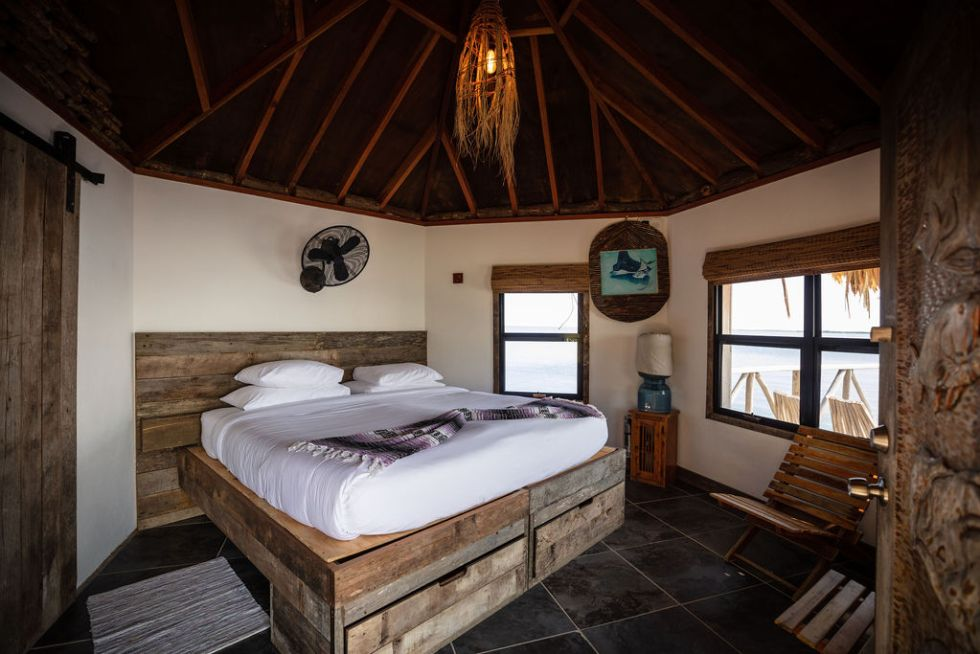 Overwater Ocean Bungalow on Thatch Caye island in Belize during COVID