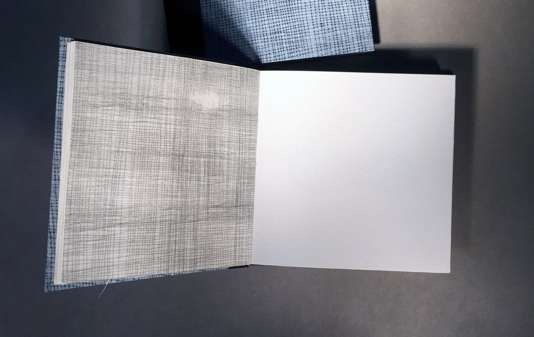 "interior page of an artist book titled ""1 over 1"", artwork that looks like a screen or netting"
