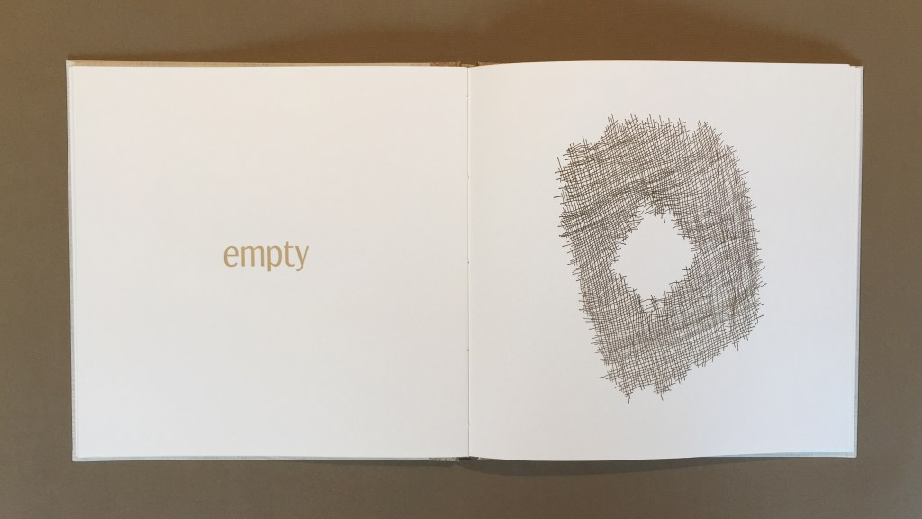 """Empty"" - detail view of the artist book ""One Is the Holiest Number (#2)"""