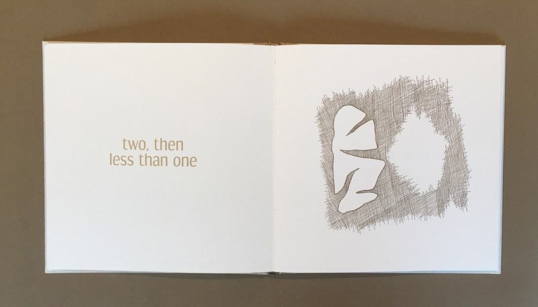 "text on the left says ""two then less than one"" and an abstract image on the right shows a hole"