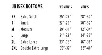 Feroce Unisex jogger sweatpants sizing chart