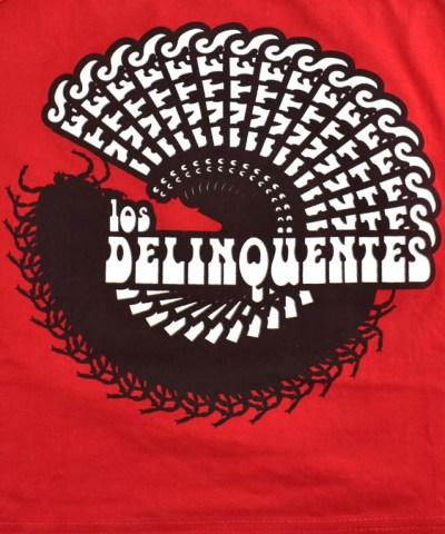 Camiseta-mujer-Los-Delinquentes-Psicodélico-Rojo-detalle