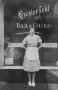 Fred's mom at the Chesterfield Bar & Grill in Manhattan, 1940