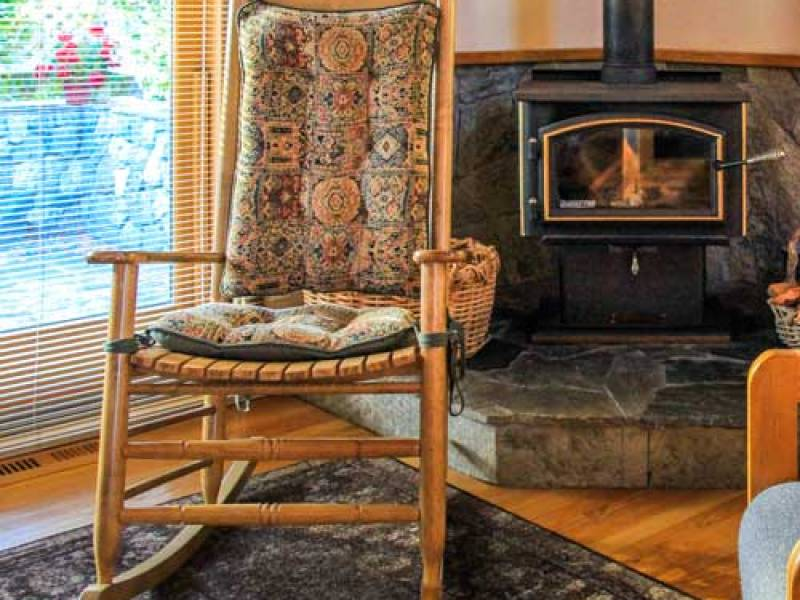 rocking chair and fireplace