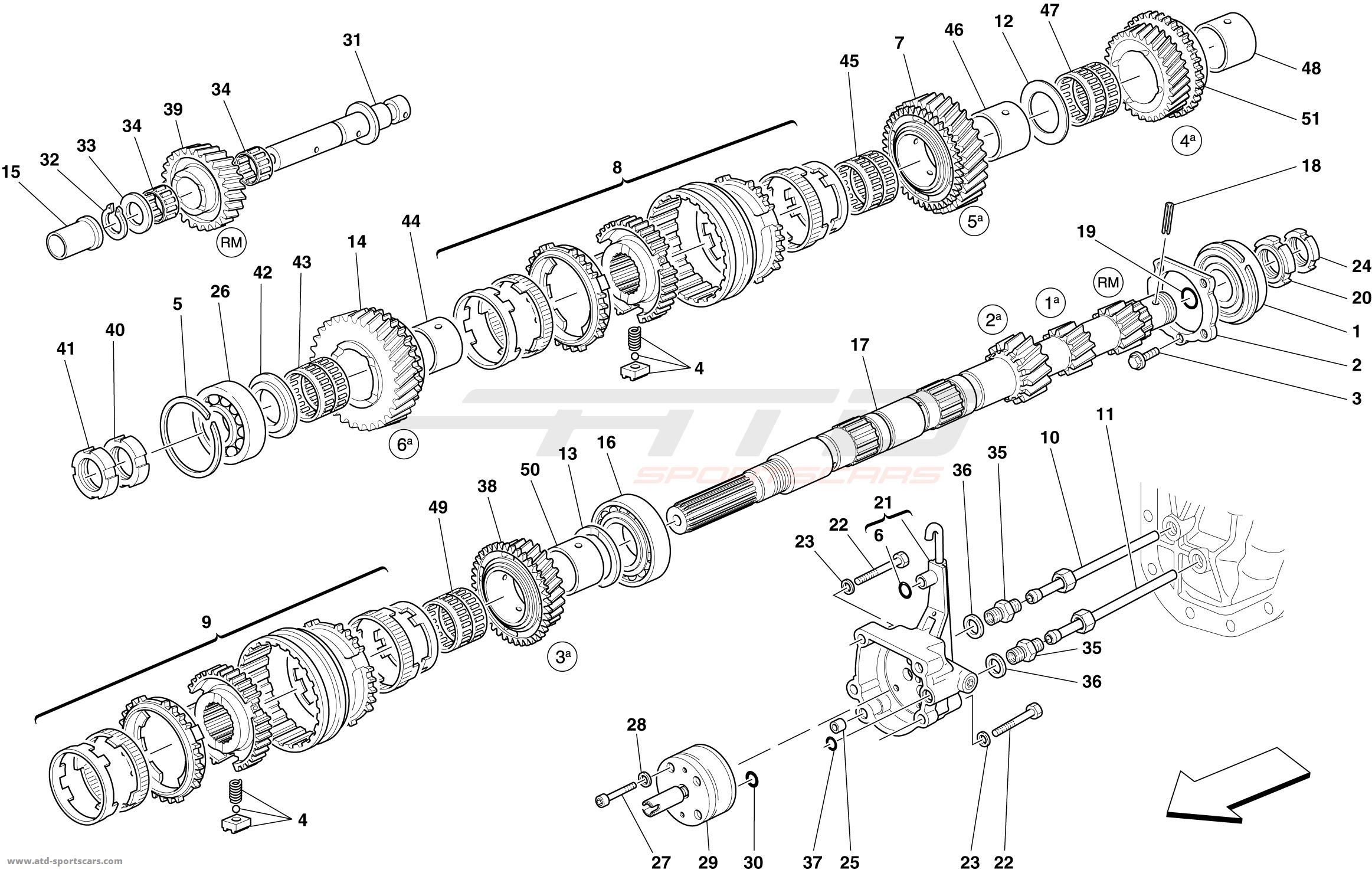 Ferrari 599 Gto Primary Gearbox Shaft Gears And Gearbox Oil Pump