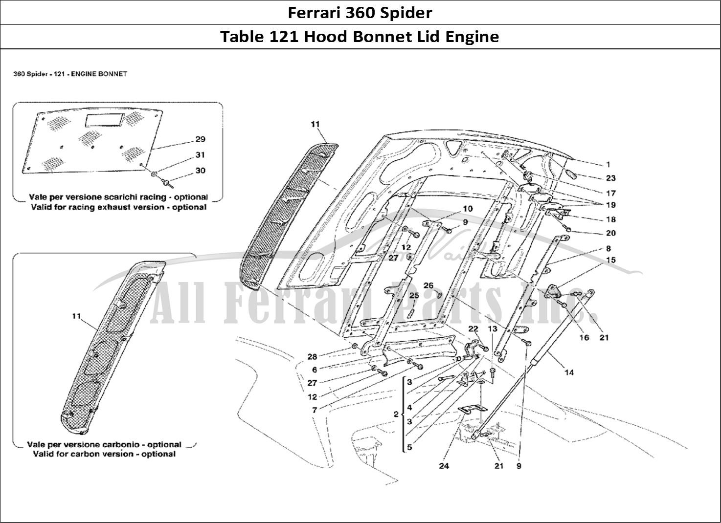Buy Original Ferrari 360 Spider 121 Hood Bonnet Lid Engine