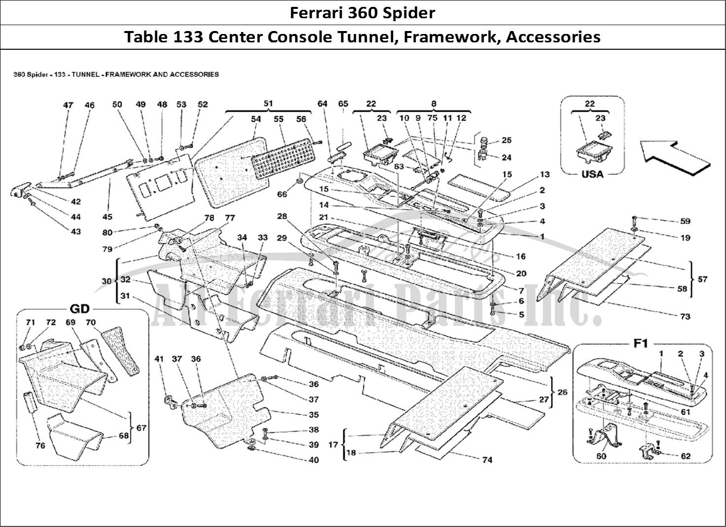 Buy Original Ferrari 360 Spider 133 Center Console Tunnel