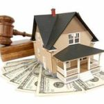 house with gavel and money
