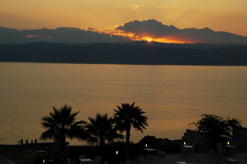 Sunset at the Dead Sea, looking toward the mountains of Judea. Photo by Ferrell Jenkins.