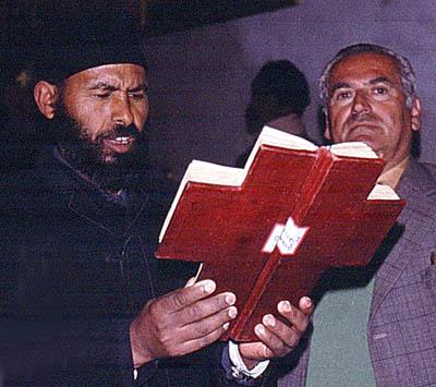 Ethiopian reading the gospel in Jerusalem. Photo by Ferrell Jenkins, 1977.