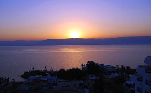 Sunrise on the Sea of Galilee. Photo made from Tiberias by Ferrell Jenkins. April 3, 2008.