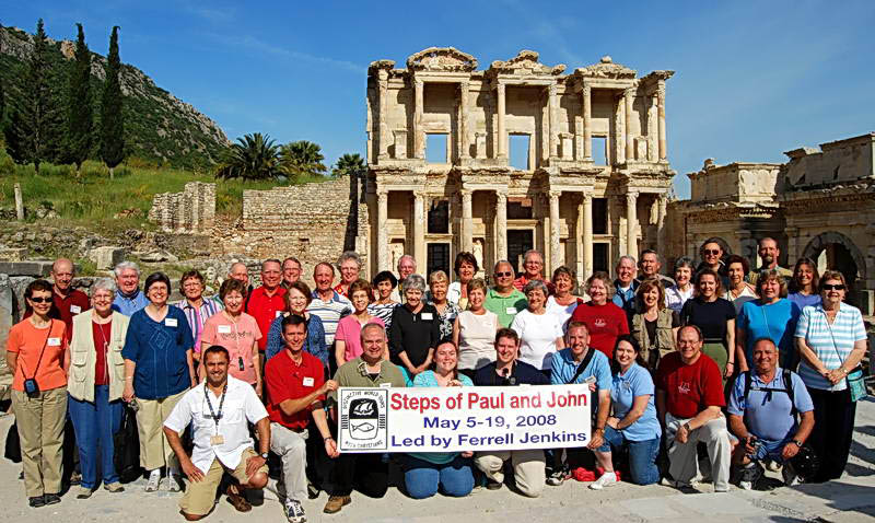 Group photo in front of the library of Celsus at Ephesus.