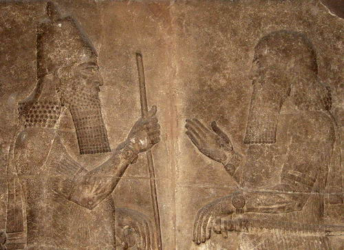 Sargon II receives his minister. From the palace in Khorsabad. British Museum. Photo by Ferrell Jenkins.