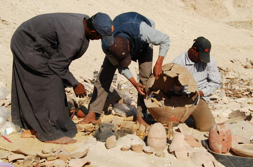 Pottery reconstruction in the Valley of the Kings. Photo by Ferrell Jenkins.