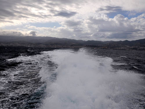 Crossing the Strait of Messina by hydrofoil. Photo by Ferrell Jenkins.