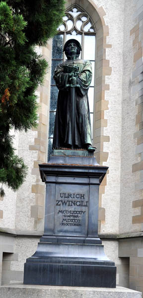 Zwingli Statue in Zurich. Photo by Ferrell Jenkins.
