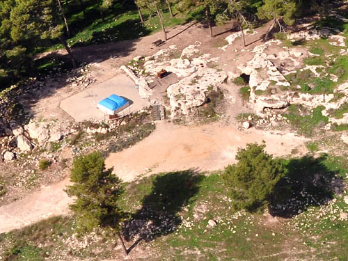 """Aerial view of the """"tomb of Samson"""" at Zorah. Photo by Ferrell Jenkins."""