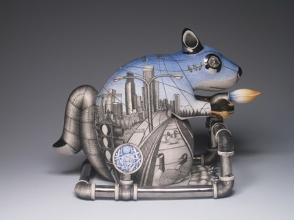 "Jason Walker, ""City Animal: Squirrel"" 2008, porcelain, underglaze, luster, 17 x 10 x 4""."
