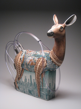 "Jason Walker, ""Standing in the Grass"" 2009, porcelain, underglaze, plastic tubing, resin, 19 x 20 x 7""."