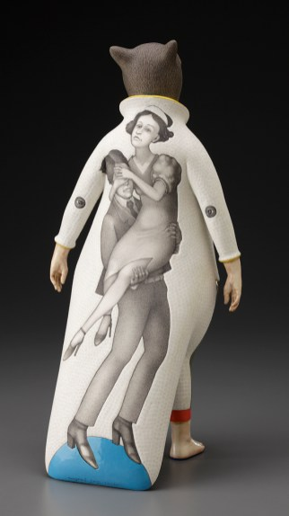 """Sergei Isupov, """"Lady Cat"""" 2012, reverse, porcelain, slip, glaze, 18 x 8 x 6.5""""."""