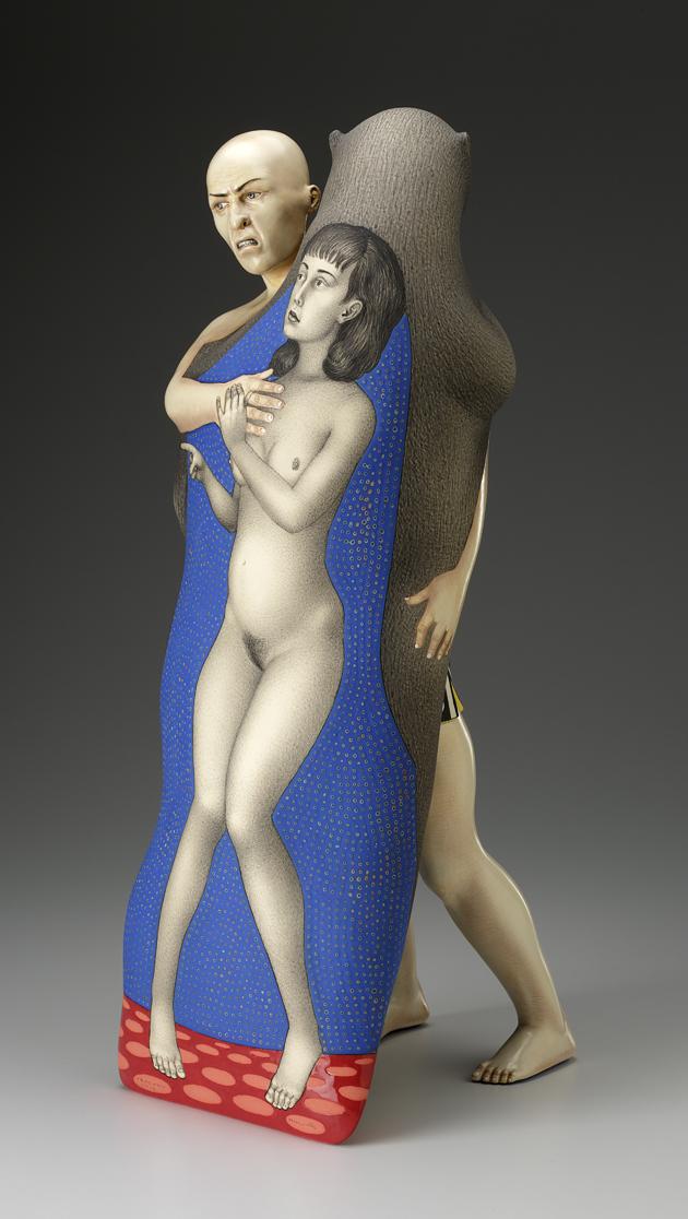 "Sergei Isupov, ""The Challenge"" 2012, reverse, porcelain, slip, glaze, 24.5 x 10 x 8.5""."