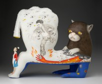 "Sergei Isupov, ""Speech of the Wild Animal"" 2012, porcelain, slip, glaze, 24.5 x 29 x 10""."