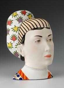 "Sergei Isupov, ""Farangis"" 2012, porcelain, slip, glaze, 14 x 10 x 6""."