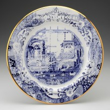 "Paul Scott, ""Cumbrian Blue(s) – Spode Works Closed, Shops"" 2011, in-glaze decal, gold lustre on salvaged Spode bone china, 12"" diameter."