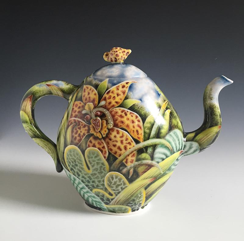 """Kurt Weiser, """"Teapot"""" 2016, porcelain, china paint, 11 x 4.5 x 8.5""""."""