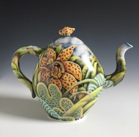 "Kurt Weiser, ""Teapot"" 2016, porcelain, china paint, 11 x 4.5 x 8.5""."